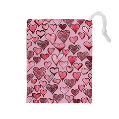 Artistic Valentine Hearts Drawstring Pouches (large)  by BubbSnugg