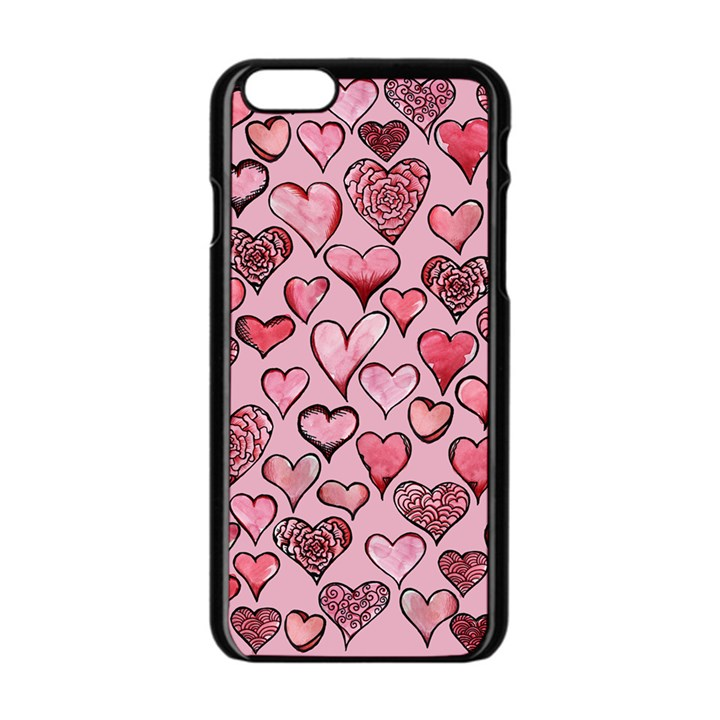 Artistic Valentine Hearts Apple iPhone 6/6S Black Enamel Case