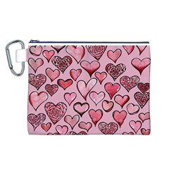 Artistic Valentine Hearts Canvas Cosmetic Bag (l) by BubbSnugg