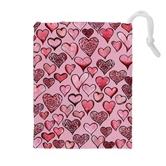 Artistic Valentine Hearts Drawstring Pouches (extra Large) by BubbSnugg