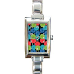 Vibrant Retro Pattern Rectangle Italian Charm Watch