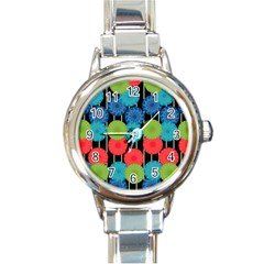 Vibrant Retro Pattern Round Italian Charm Watch by DanaeStudio