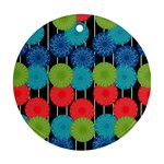 Vibrant Retro Pattern Ornament (Round)  Front