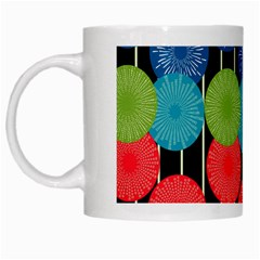 Vibrant Retro Pattern White Mugs by DanaeStudio