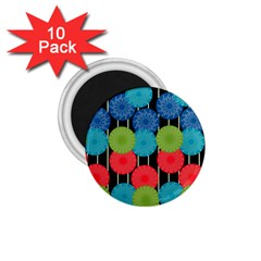 Vibrant Retro Pattern 1.75  Magnets (10 pack)