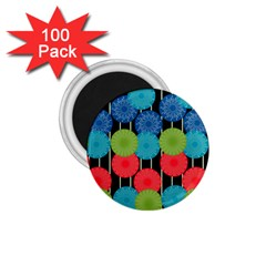 Vibrant Retro Pattern 1.75  Magnets (100 pack)