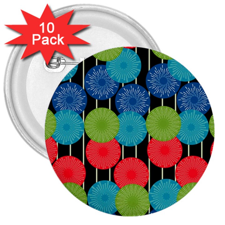 Vibrant Retro Pattern 3  Buttons (10 pack)