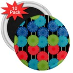 Vibrant Retro Pattern 3  Magnets (10 pack)  Front