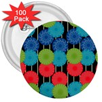 Vibrant Retro Pattern 3  Buttons (100 pack)  Front