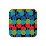 Vibrant Retro Pattern Rubber Coaster (Square)  Front