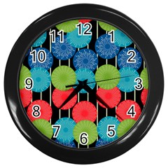 Vibrant Retro Pattern Wall Clocks (black) by DanaeStudio