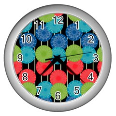 Vibrant Retro Pattern Wall Clocks (silver)  by DanaeStudio