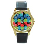 Vibrant Retro Pattern Round Gold Metal Watch Front