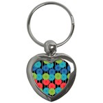 Vibrant Retro Pattern Key Chains (Heart)  Front