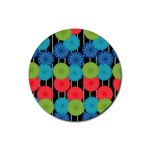Vibrant Retro Pattern Rubber Round Coaster (4 pack)  Front