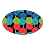 Vibrant Retro Pattern Oval Magnet Front