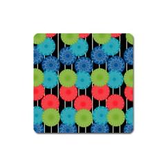 Vibrant Retro Pattern Square Magnet by DanaeStudio