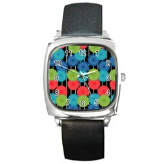 Vibrant Retro Pattern Square Metal Watch by DanaeStudio