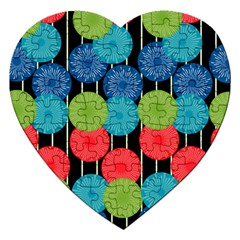 Vibrant Retro Pattern Jigsaw Puzzle (heart) by DanaeStudio