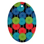 Vibrant Retro Pattern Oval Ornament (Two Sides) Front