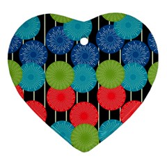 Vibrant Retro Pattern Heart Ornament (2 Sides) by DanaeStudio