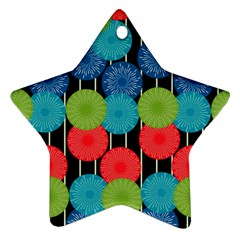 Vibrant Retro Pattern Star Ornament (two Sides)  by DanaeStudio