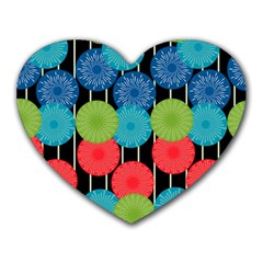 Vibrant Retro Pattern Heart Mousepads by DanaeStudio