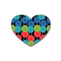 Vibrant Retro Pattern Rubber Coaster (heart)  by DanaeStudio