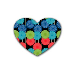 Vibrant Retro Pattern Heart Coaster (4 Pack)  by DanaeStudio