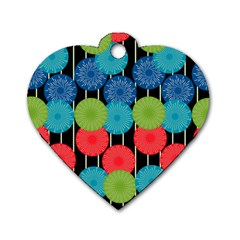 Vibrant Retro Pattern Dog Tag Heart (two Sides) by DanaeStudio