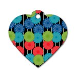 Vibrant Retro Pattern Dog Tag Heart (Two Sides) Front