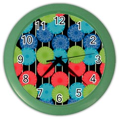 Vibrant Retro Pattern Color Wall Clocks by DanaeStudio