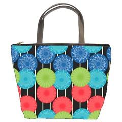 Vibrant Retro Pattern Bucket Bags by DanaeStudio