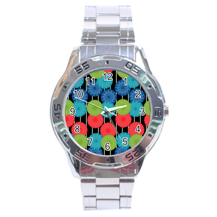 Vibrant Retro Pattern Stainless Steel Analogue Watch