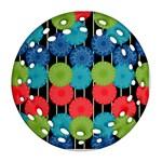 Vibrant Retro Pattern Round Filigree Ornament (2Side) Back