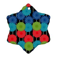 Vibrant Retro Pattern Snowflake Ornament (2 Side)