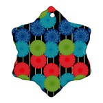 Vibrant Retro Pattern Snowflake Ornament (2-Side) Back