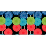 Vibrant Retro Pattern Happy New Year 3D Greeting Card (8x4) Front