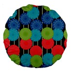 Vibrant Retro Pattern Large 18  Premium Round Cushions Back