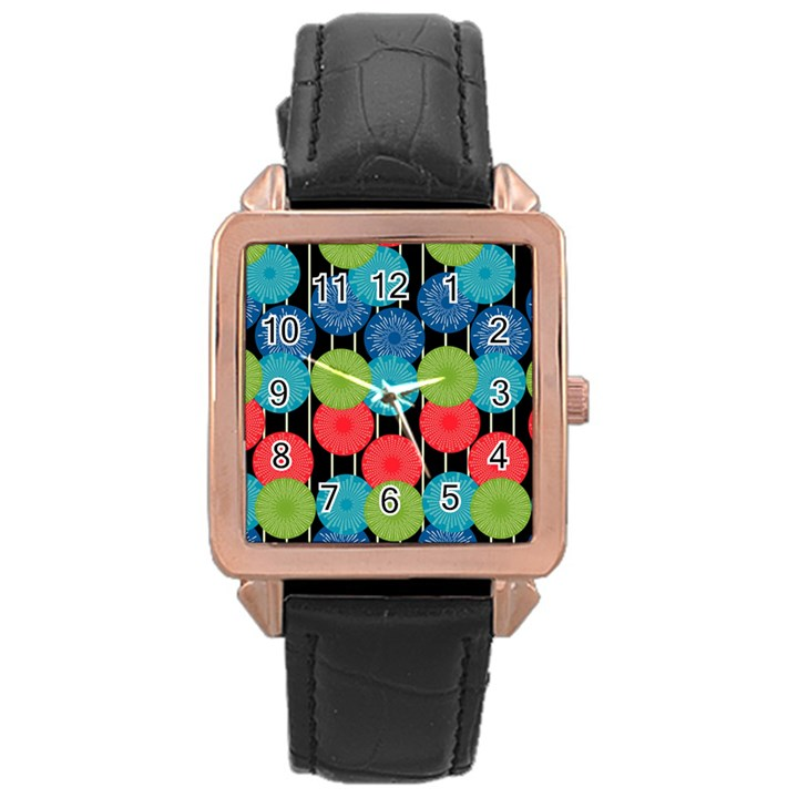 Vibrant Retro Pattern Rose Gold Leather Watch