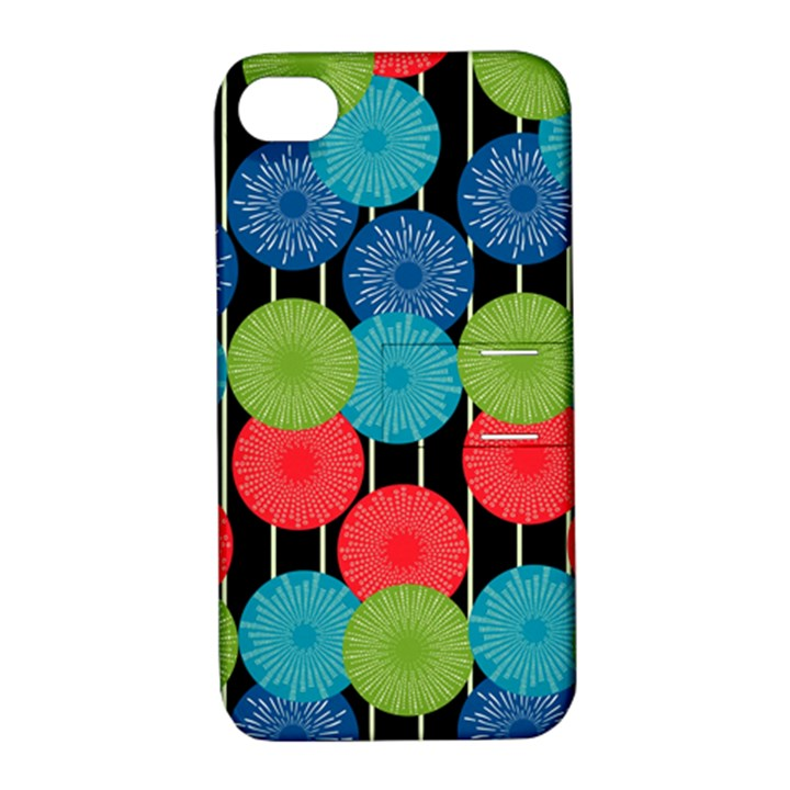 Vibrant Retro Pattern Apple iPhone 4/4S Hardshell Case with Stand