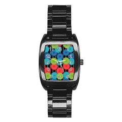 Vibrant Retro Pattern Stainless Steel Barrel Watch