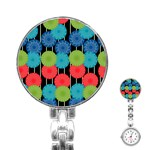 Vibrant Retro Pattern Stainless Steel Nurses Watch Front