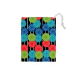 Vibrant Retro Pattern Drawstring Pouches (Small)  Front