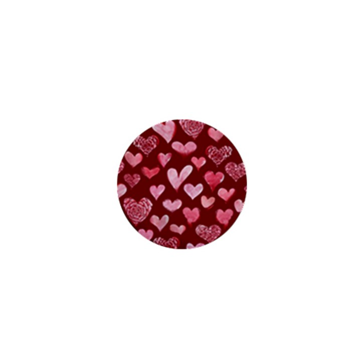 Watercolor Valentine s Day Hearts 1  Mini Buttons