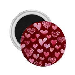 Watercolor Valentine s Day Hearts 2.25  Magnets