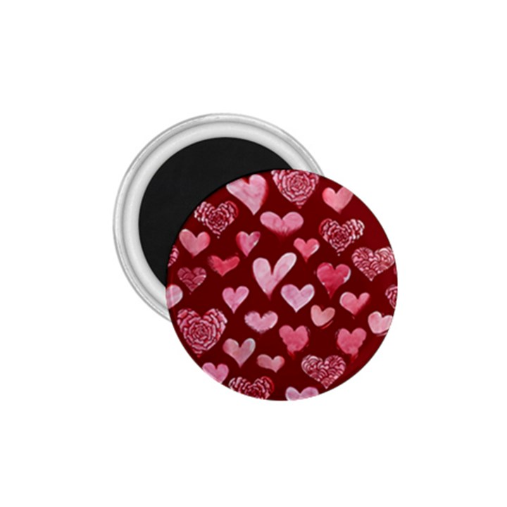 Watercolor Valentine s Day Hearts 1.75  Magnets