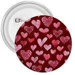 Watercolor Valentine s Day Hearts 3  Buttons