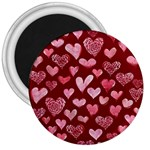 Watercolor Valentine s Day Hearts 3  Magnets