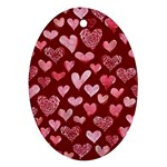 Watercolor Valentine s Day Hearts Ornament (Oval)  Front